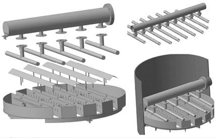Распределители жидкости и устройства для сбора и отвода жидкости в колонне