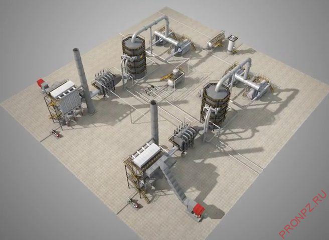Общий вид установки производства серной кислоты