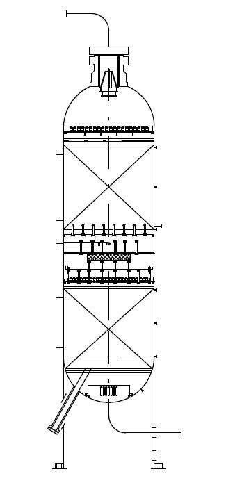 Реактор гидроочистки с 2 слоями катализатора