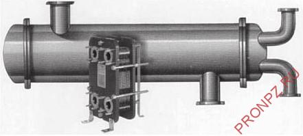 Иллюстрация типичной разницы размеров между ПТ и кожухотрубным теплообменником
